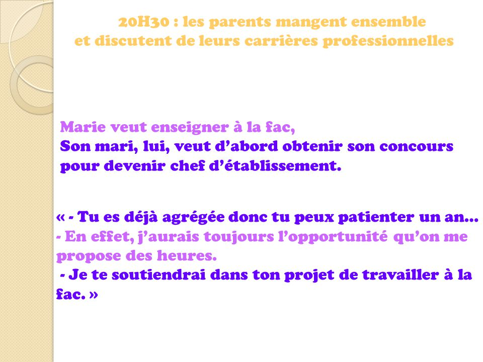 20H30 : les parents mangent ensemble
