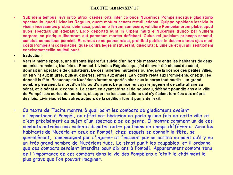 TACITE: Anales XIV 17