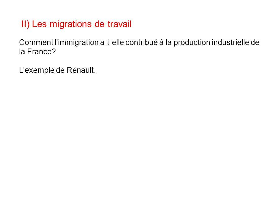 II) Les migrations de travail