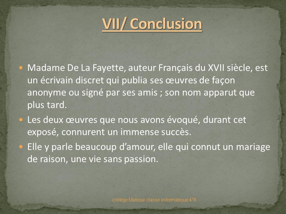 VII/ Conclusion