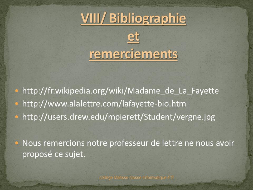 VIII/ Bibliographie et remerciements