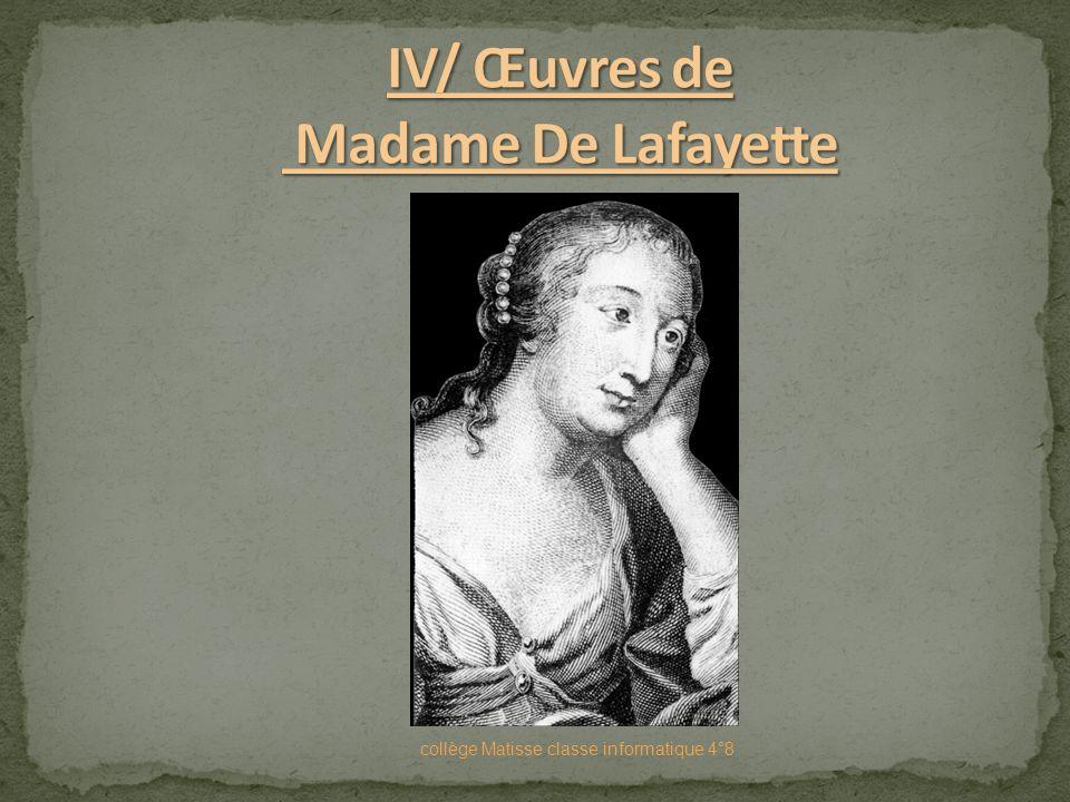 IV/ Œuvres de Madame De Lafayette
