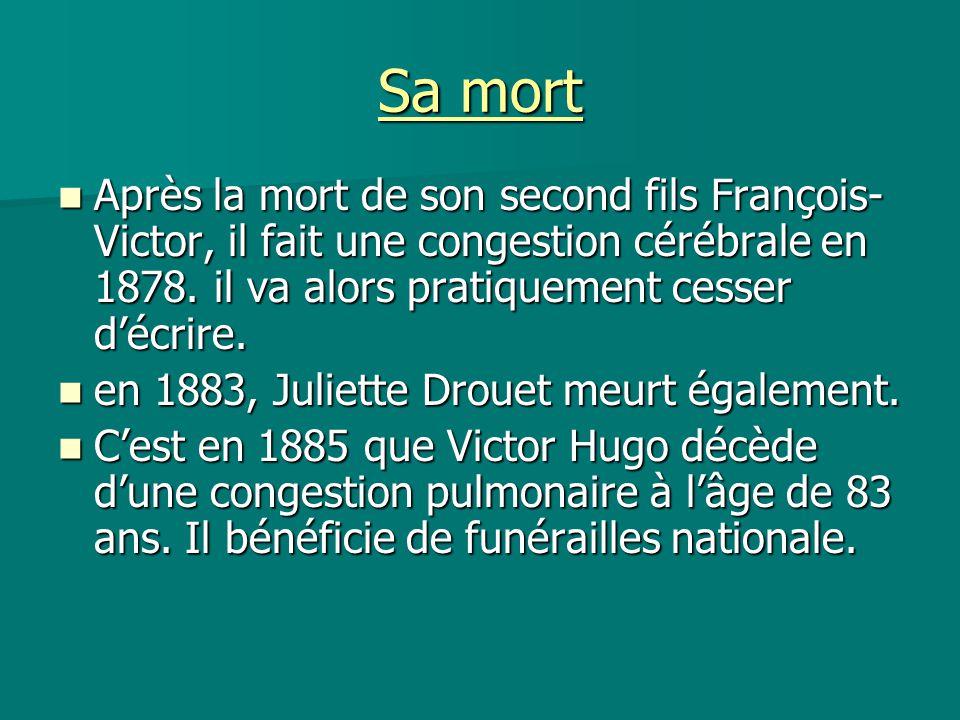 Sa mort Après la mort de son second fils François- Victor, il fait une congestion cérébrale en 1878. il va alors pratiquement cesser d'écrire.