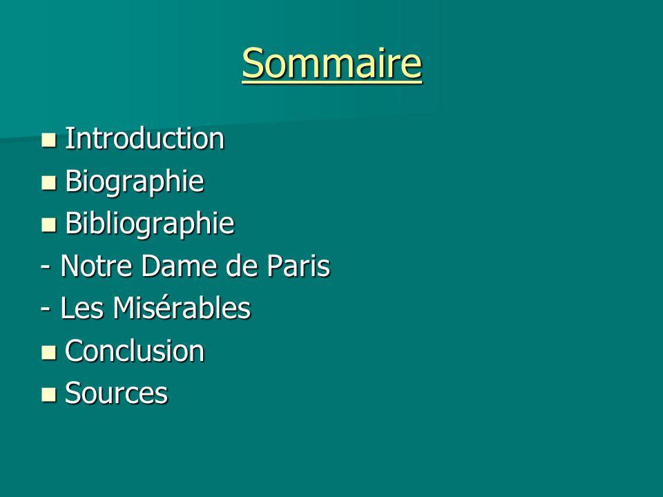 Sommaire Introduction Biographie Bibliographie - Notre Dame de Paris
