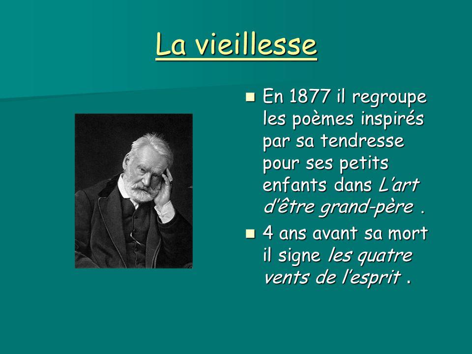 La vieillesse En 1877 il regroupe les poèmes inspirés par sa tendresse pour ses petits enfants dans L'art d'être grand-père .