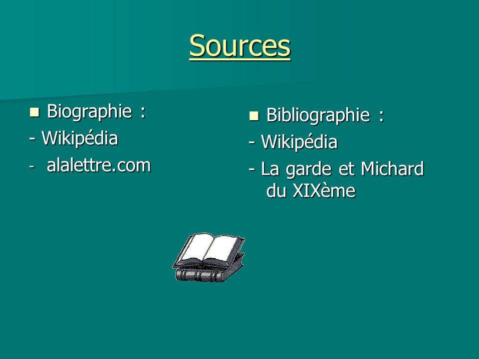 Sources Biographie : Bibliographie : - Wikipédia - Wikipédia
