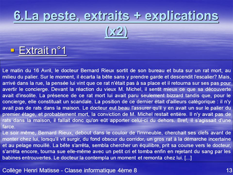 6.La peste, extraits + explications (x2)
