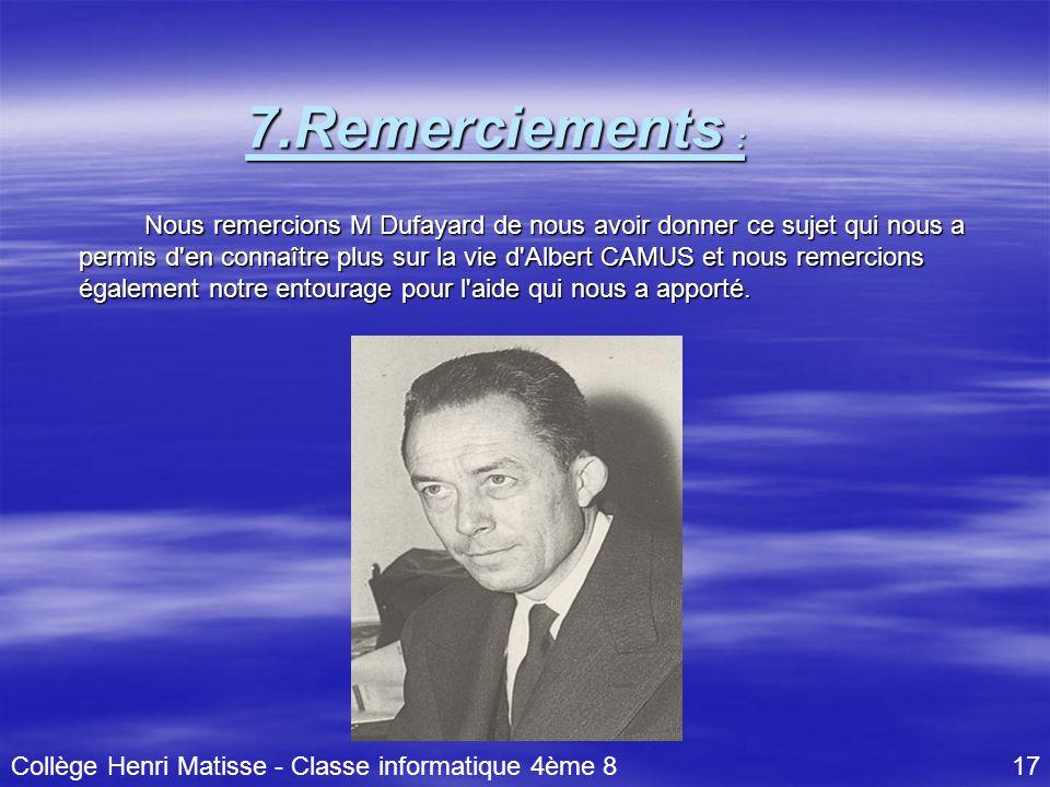 Collège Henri Matisse - Classe informatique 4ème 8 17