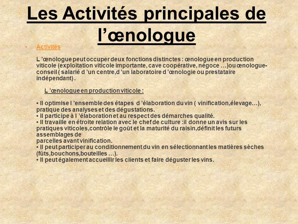 Les Activités principales de l'œnologue