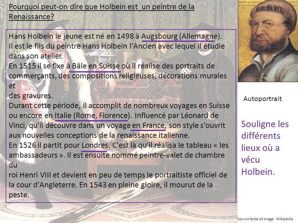 Souligne les différents lieux où a vécu Holbein.