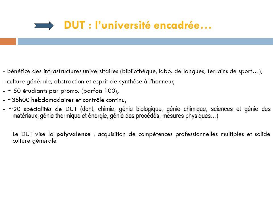 DUT : l'université encadrée… - bénéfice des infrastructures universitaires (bibliothèque, labo.