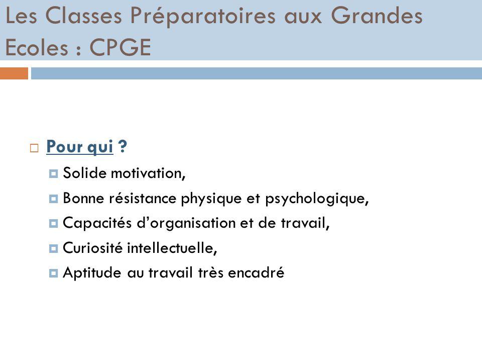 Les Classes Préparatoires aux Grandes Ecoles : CPGE