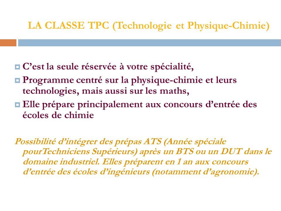 LA CLASSE TPC (Technologie et Physique-Chimie)