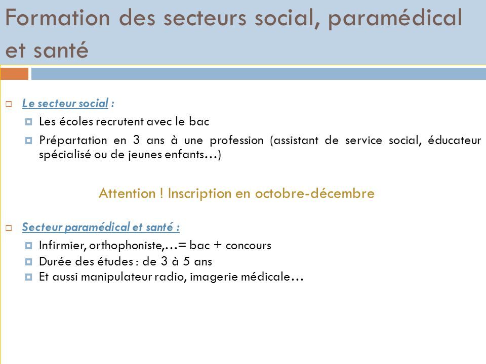 Formation des secteurs social, paramédical et santé