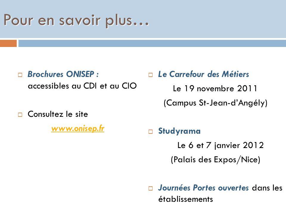 Pour en savoir plus… Brochures ONISEP : accessibles au CDI et au CIO