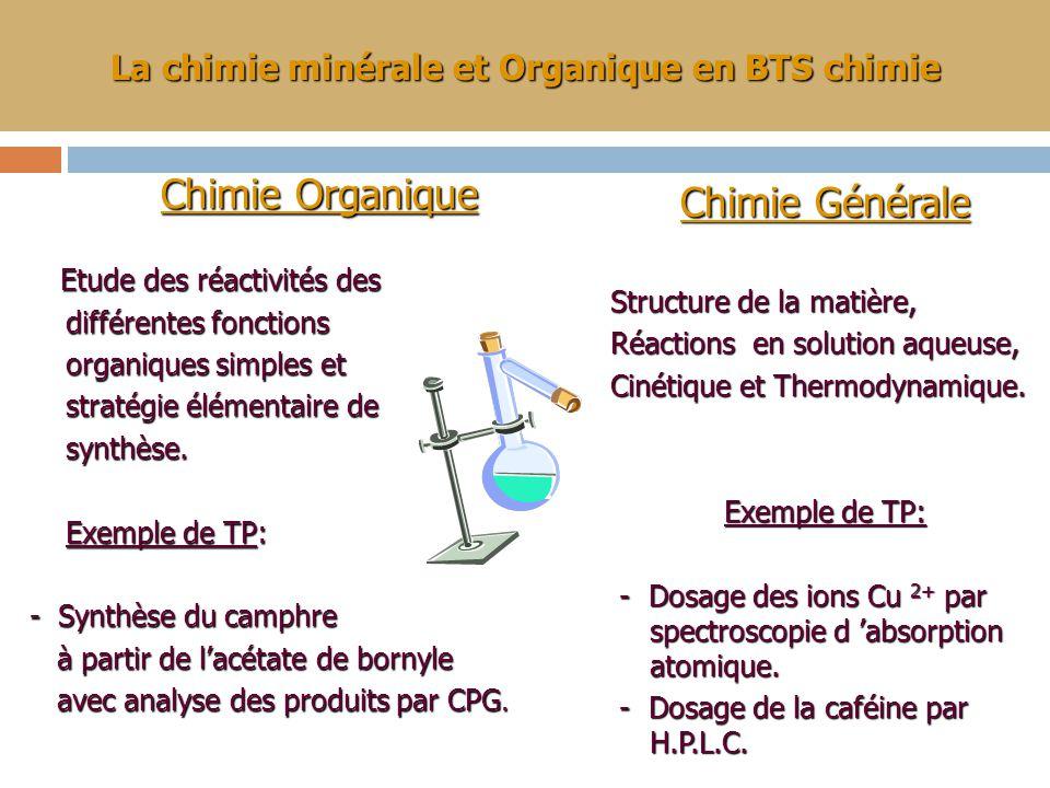 La chimie minérale et Organique en BTS chimie