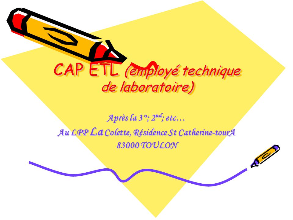 CAP ETL (employé technique de laboratoire)