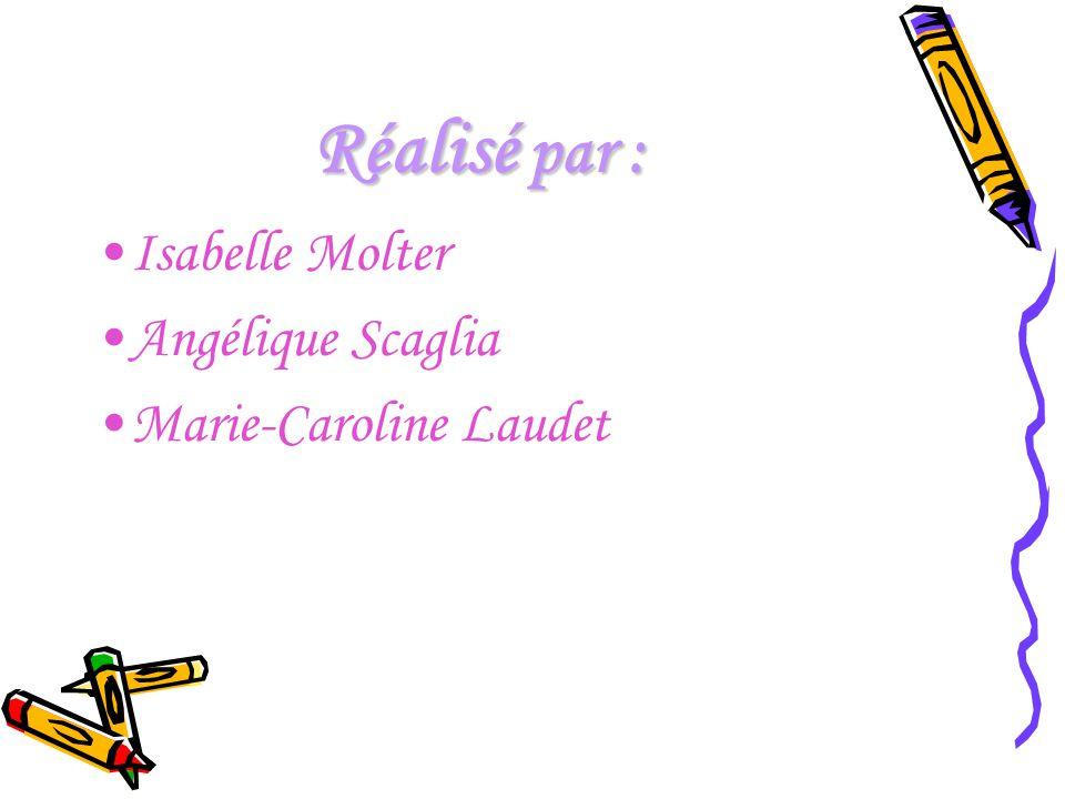 Réalisé par : Isabelle Molter Angélique Scaglia Marie-Caroline Laudet