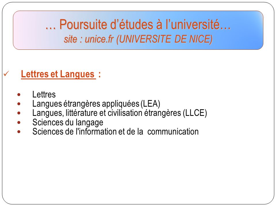 … Poursuite d'études à l'université… site : unice