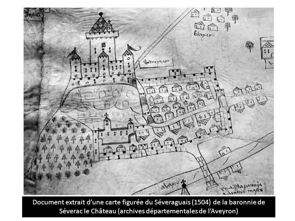 Document extrait d'une carte figurée du Séveraguais (1504) de la baronnie de Séverac le Château (archives départementales de l'Aveyron)