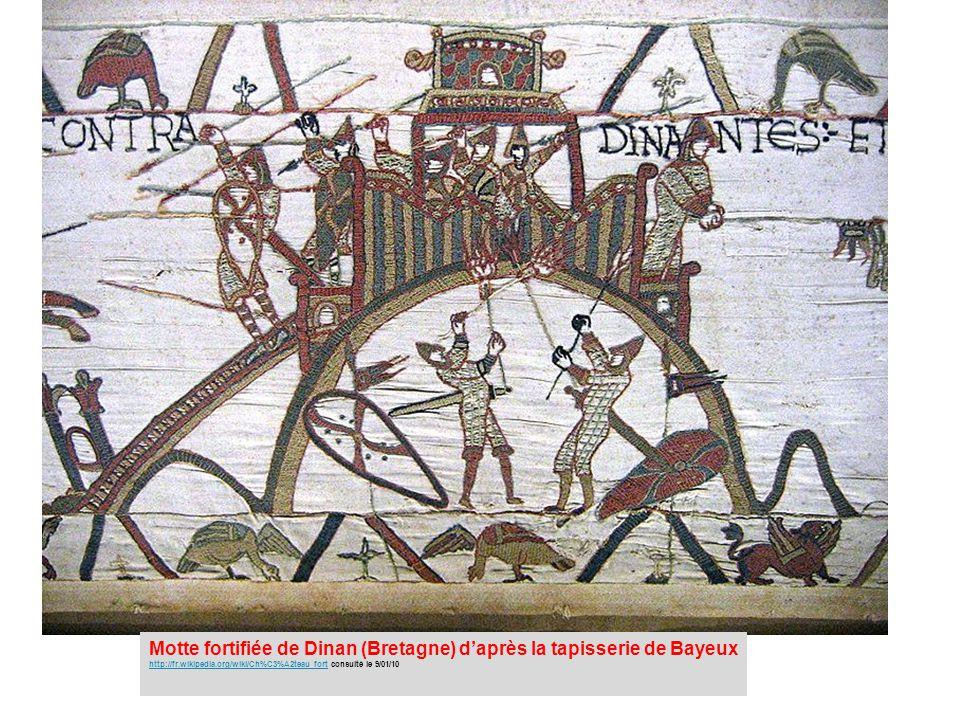 Motte fortifiée de Dinan (Bretagne) d'après la tapisserie de Bayeux