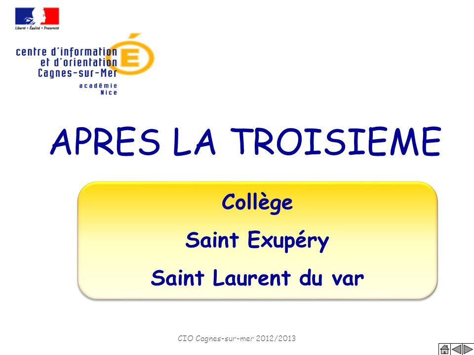 APRES LA TROISIEME Collège Saint Exupéry Saint Laurent du var