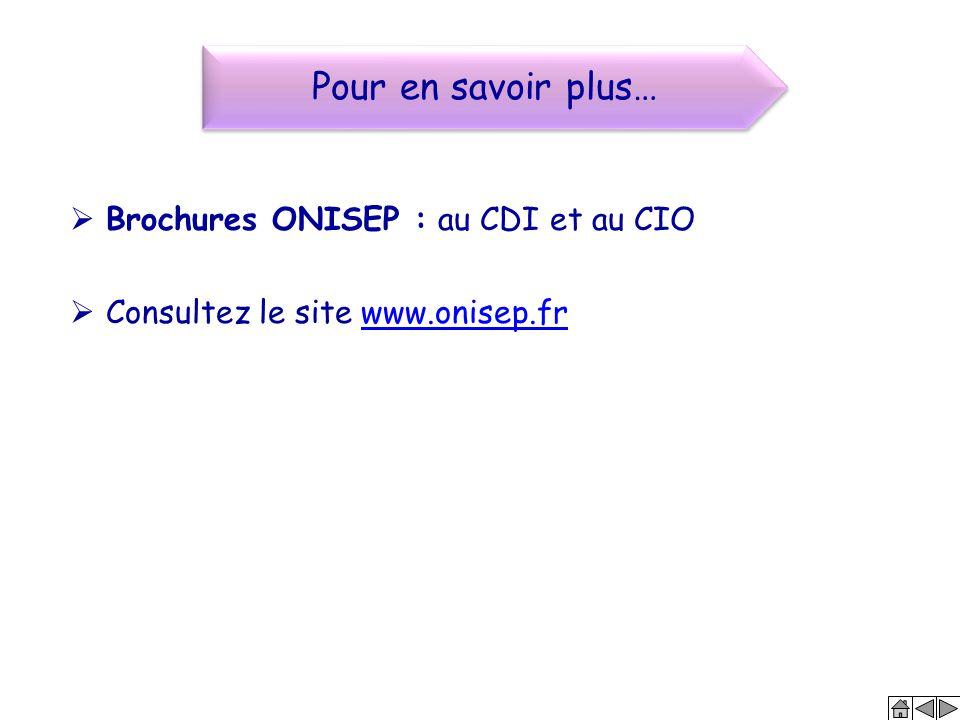 Pour en savoir plus… Brochures ONISEP : au CDI et au CIO