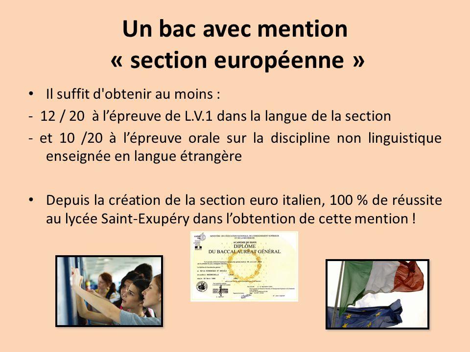 Un bac avec mention « section européenne »