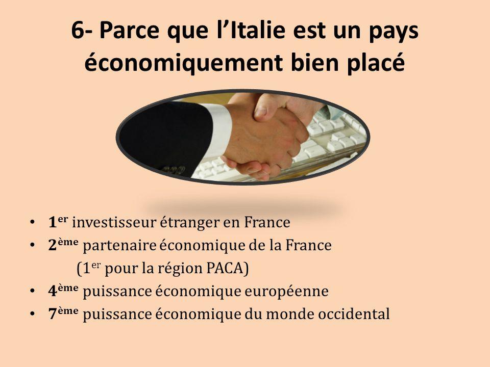 6- Parce que l'Italie est un pays économiquement bien placé