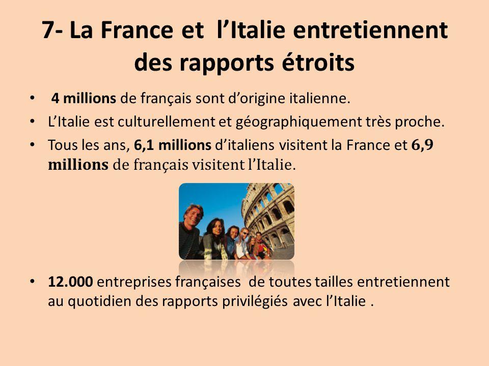 7- La France et l'Italie entretiennent des rapports étroits