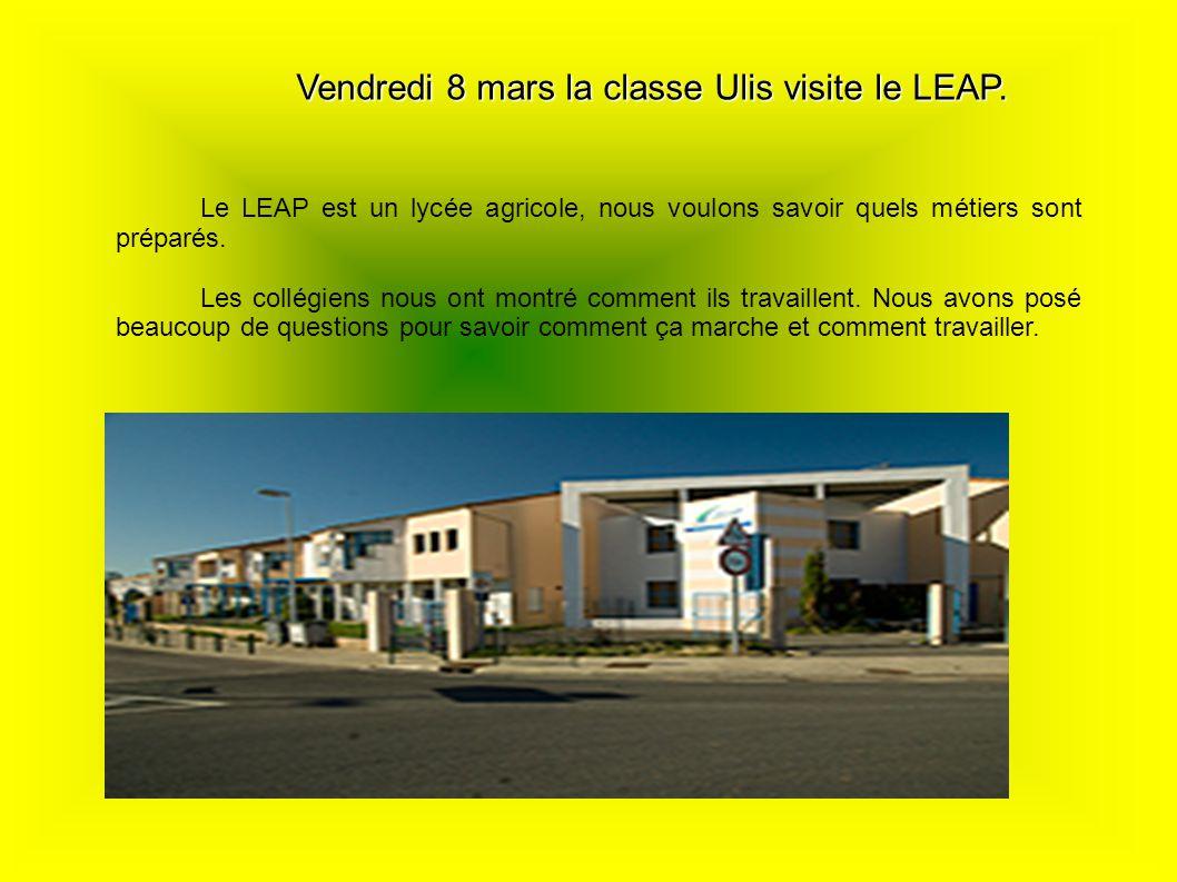 Vendredi 8 mars la classe Ulis visite le LEAP.