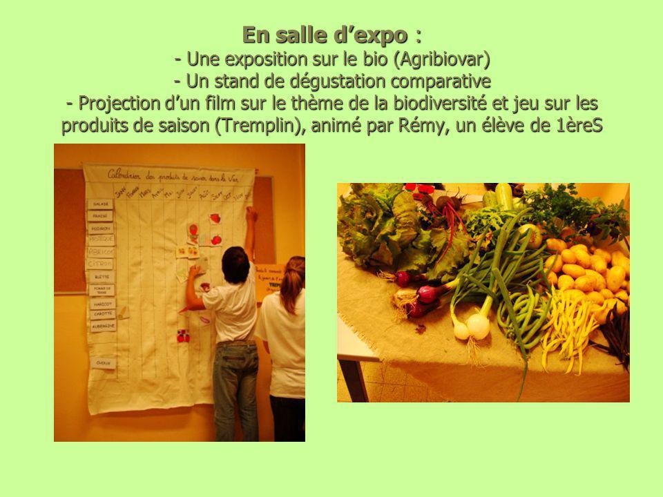 En salle d'expo : - Une exposition sur le bio (Agribiovar) - Un stand de dégustation comparative - Projection d'un film sur le thème de la biodiversité et jeu sur les produits de saison (Tremplin), animé par Rémy, un élève de 1èreS