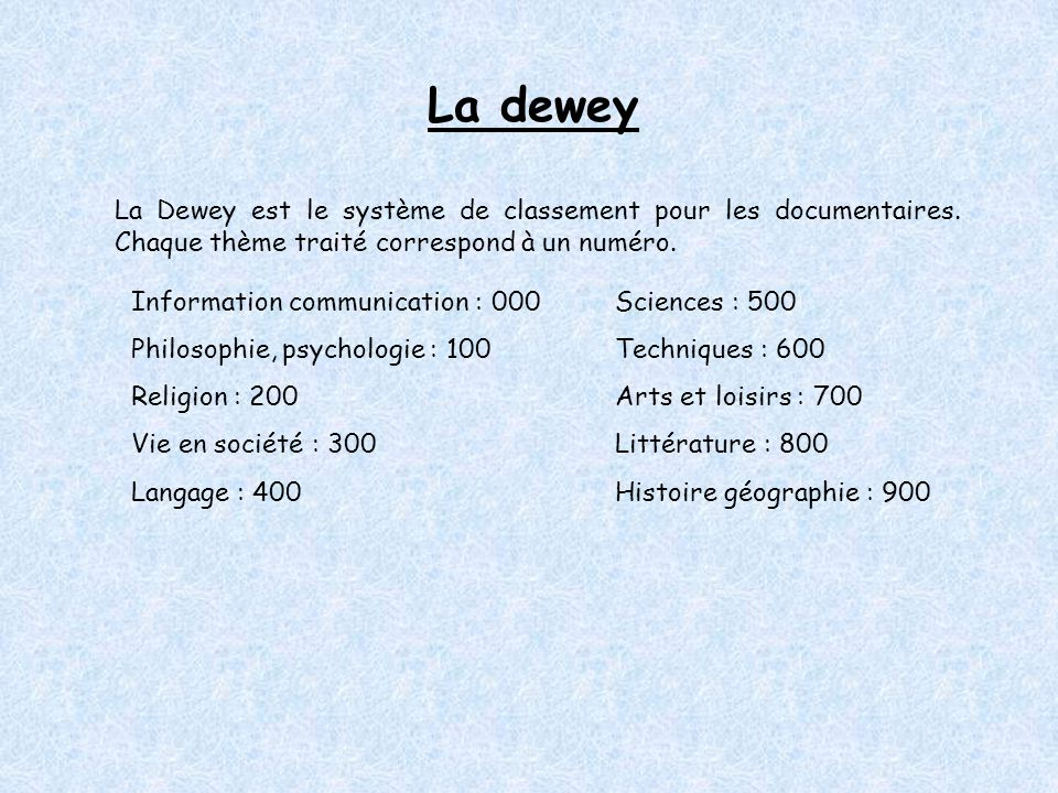 La dewey La Dewey est le système de classement pour les documentaires. Chaque thème traité correspond à un numéro.
