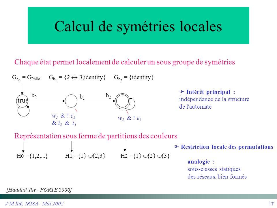 Calcul de symétries locales