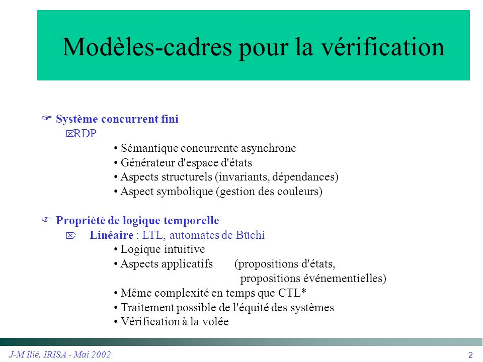 Modèles-cadres pour la vérification