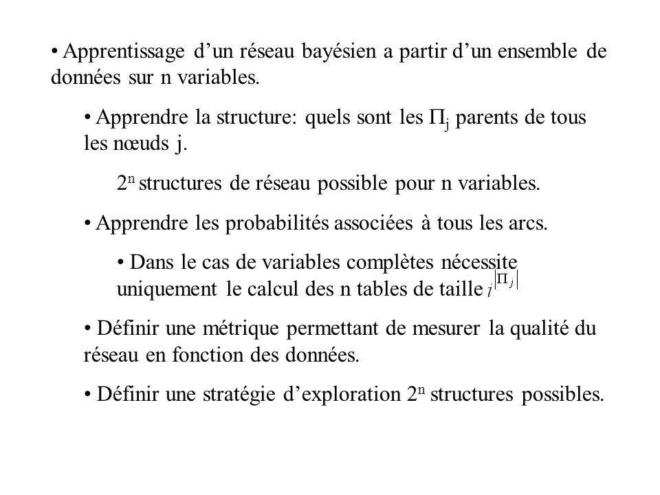 Apprentissage d'un réseau bayésien a partir d'un ensemble de données sur n variables.