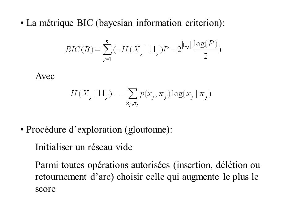 La métrique BIC (bayesian information criterion):