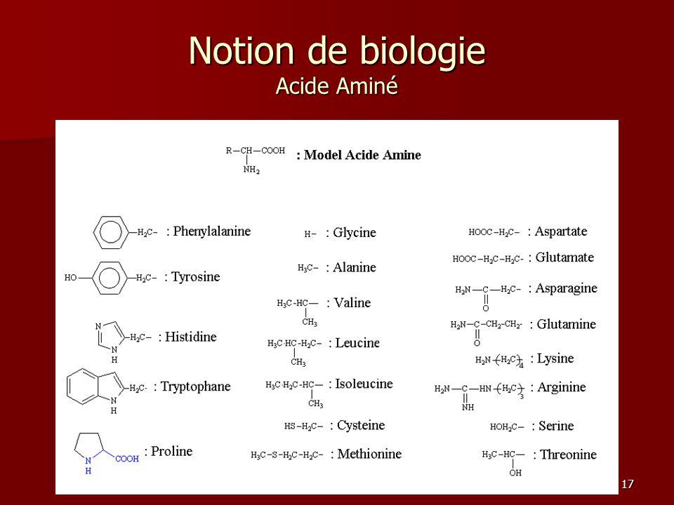 Notion de biologie Acide Aminé