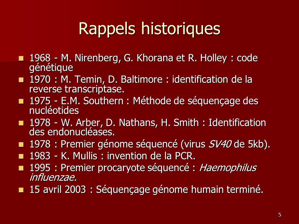 Rappels historiques 1968 - M. Nirenberg, G. Khorana et R. Holley : code génétique.