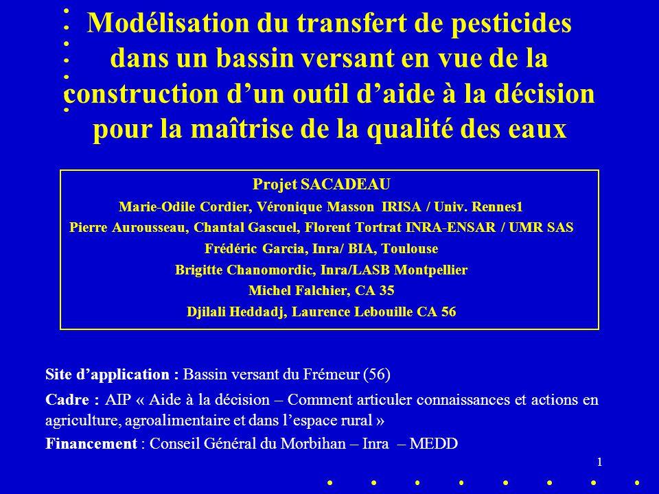 Modélisation du transfert de pesticides dans un bassin versant en vue de la construction d'un outil d'aide à la décision pour la maîtrise de la qualité des eaux