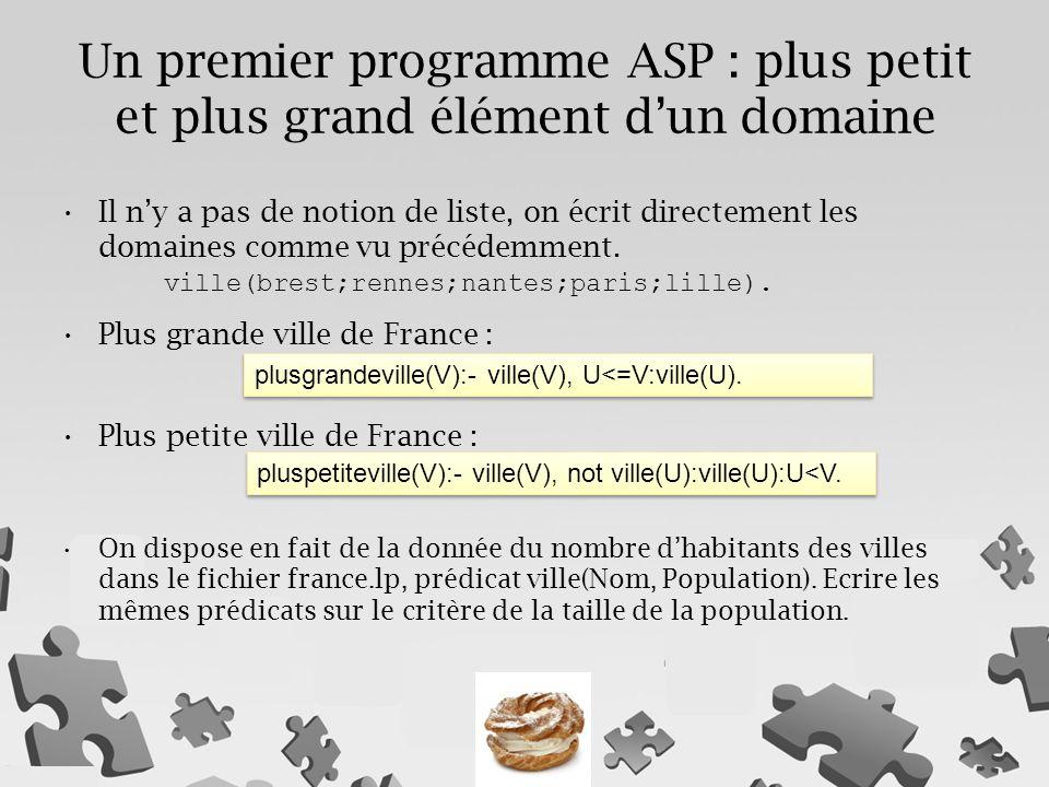 Un premier programme ASP : plus petit et plus grand élément d'un domaine