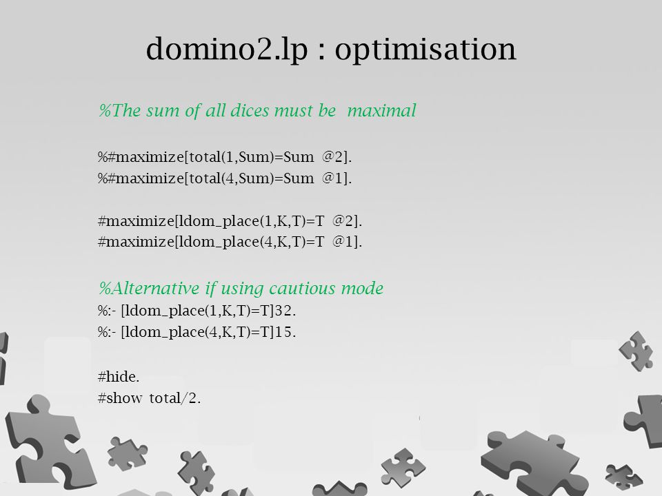 domino2.lp : optimisation