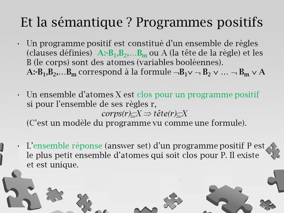 Et la sémantique Programmes positifs
