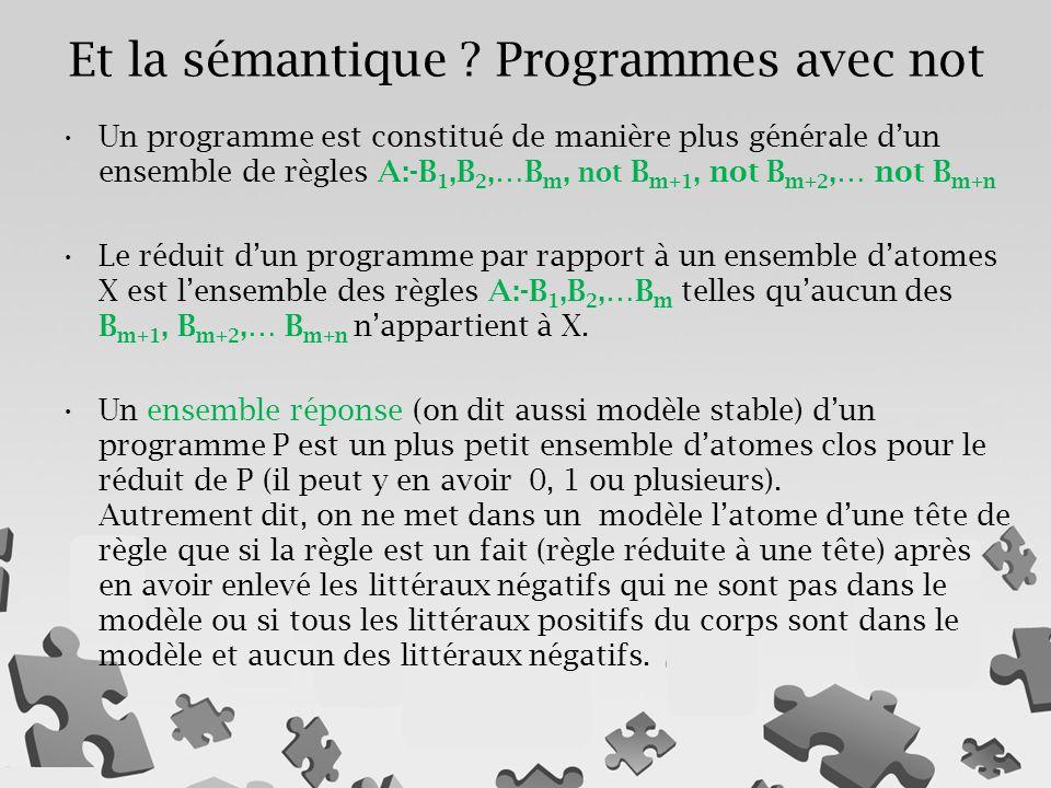 Et la sémantique Programmes avec not