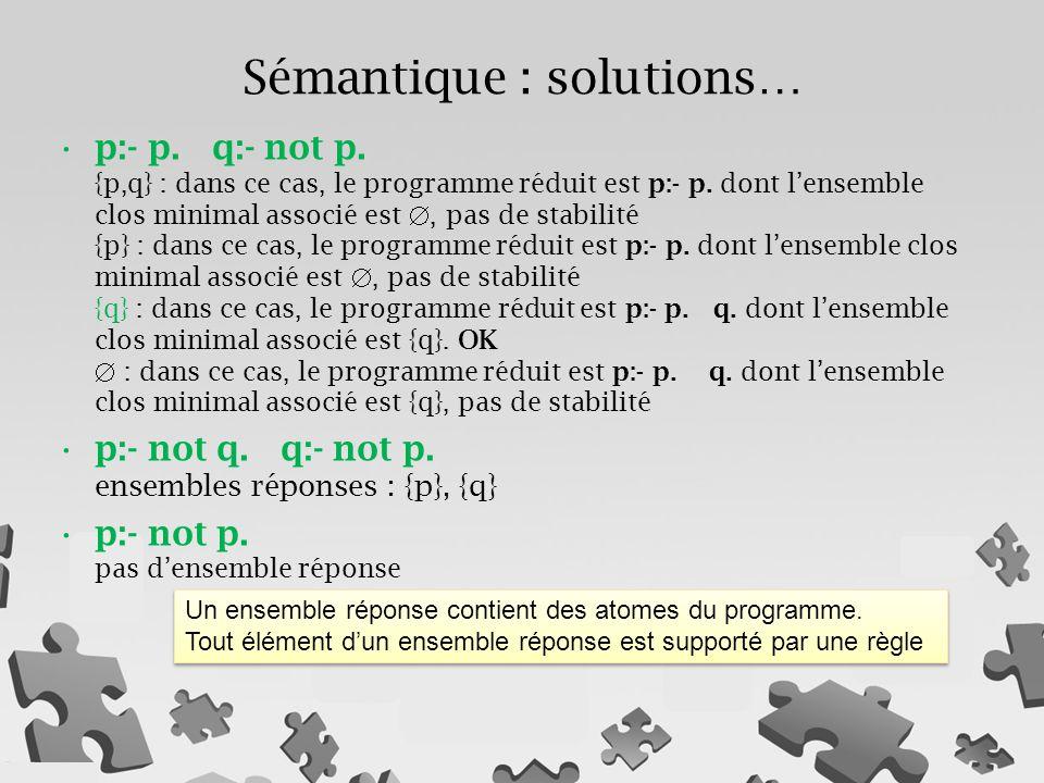 Sémantique : solutions…