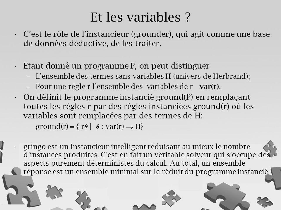 Et les variables C'est le rôle de l'instancieur (grounder), qui agit comme une base de données déductive, de les traiter.