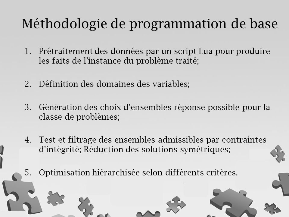 Méthodologie de programmation de base