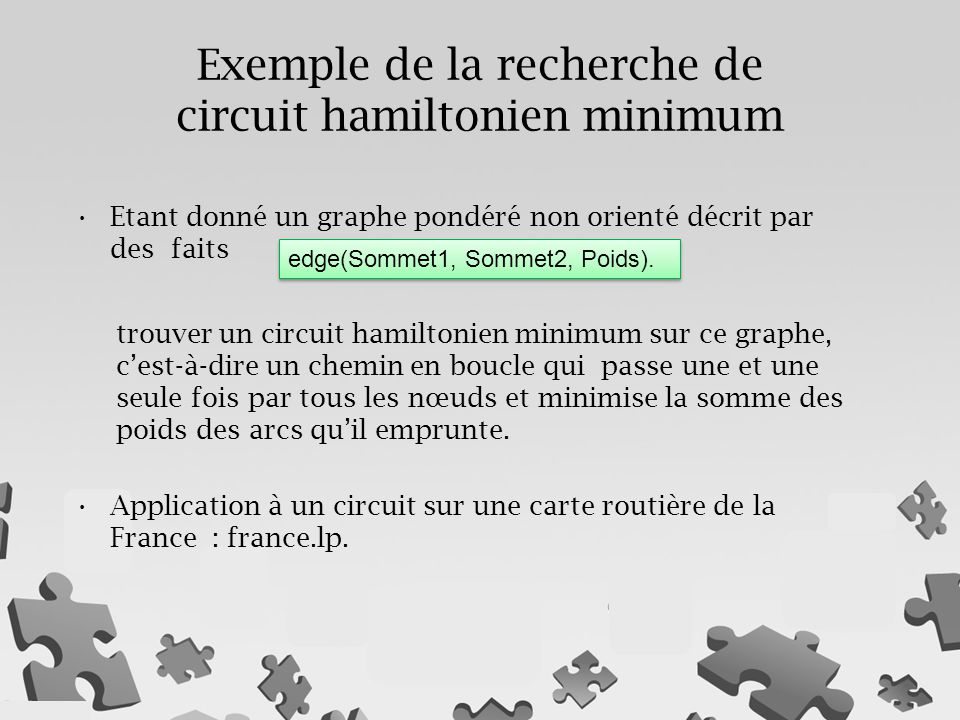 Exemple de la recherche de circuit hamiltonien minimum