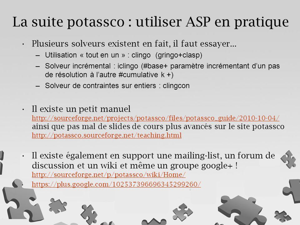 La suite potassco : utiliser ASP en pratique