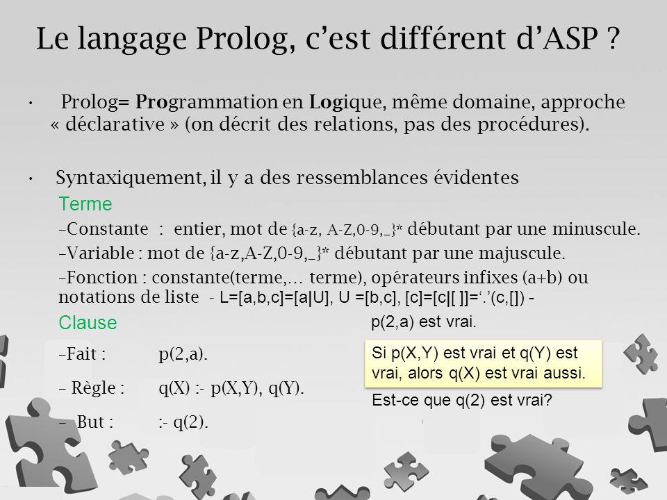 Le langage Prolog, c'est différent d'ASP